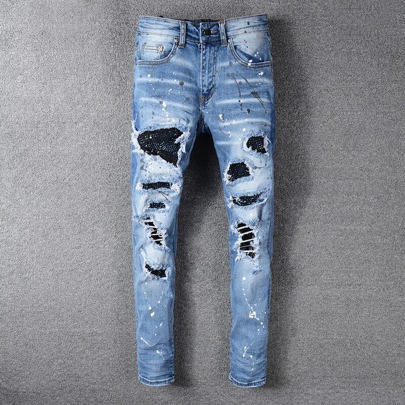 Homens de alta Moda de Rua Calça Jeans Cor Azul Slim Fit Calças Destruído Rasgado calças de Brim Dos Homens Quebrado Pintura Designer Patchwork Hip Hop calças de brim