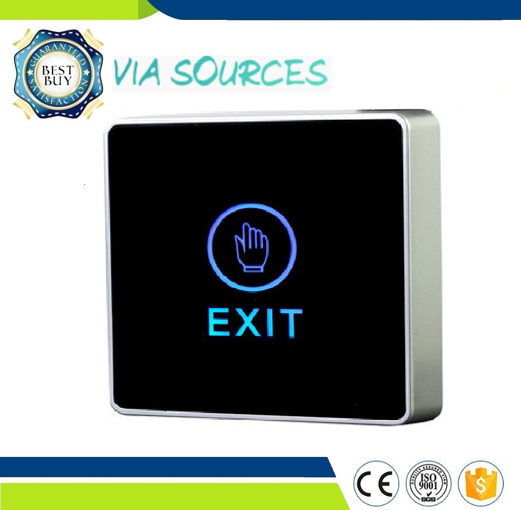 Envío Gratis luz de fondo azul botón de salida táctil interruptor de liberación de puerta sin contacto infrarrojo para sistema de Control de acceso cuadrado