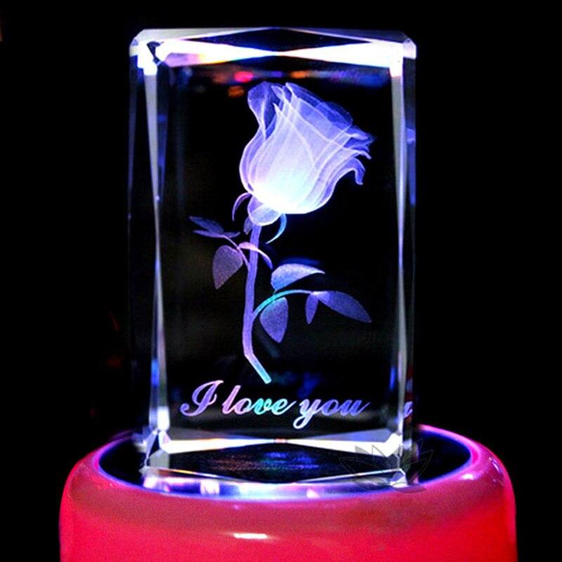 3D gravura de cristal rosas idéias do presente do Dia Dos Namorados presente de aniversário para enviar as meninas esposa namorada presente