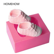 Homehow Brand 1PC/Lot Cute 3D Baby Shoe Silicone Mold 7.2*5.8*3.3cm Kitchen Accessories Chocolate Ca
