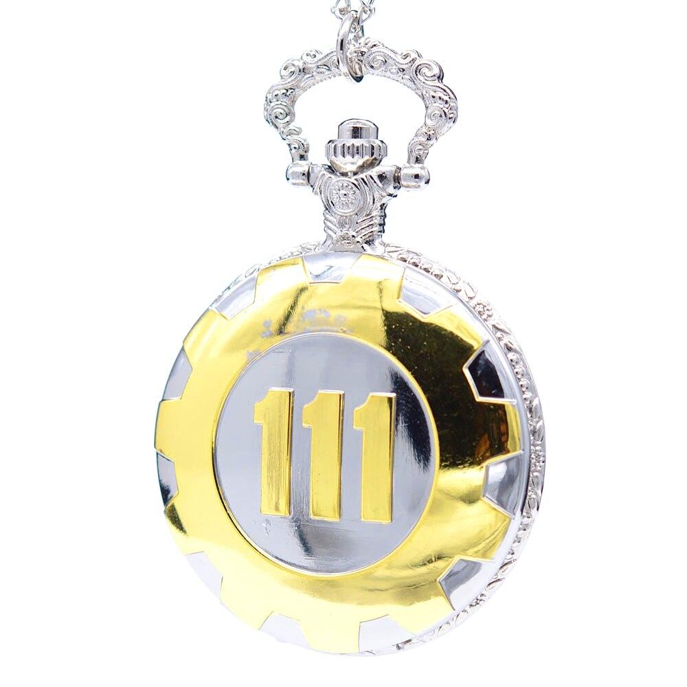 Nueva moda de plata oro caída del juego 4 Vault 111 reloj de bolsillo de cuarzo colgante analógico collar relojes de pulsera de hombre y de mujer regalo para niño