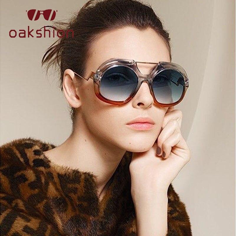 oakshion Irregular Big Frame Sunglasses Womens Gradient Two Color Sun Glasses Trend Girls Glasses For Women Shades Female