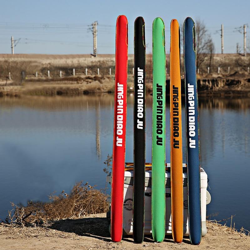 1pcs Alta Nylon Elástico De Proteção Vara de Pesca Saco de Vara Telescópica Pólo Saco Protetor de Tampa Multicolor Sacos de Corda Meia Luva saco