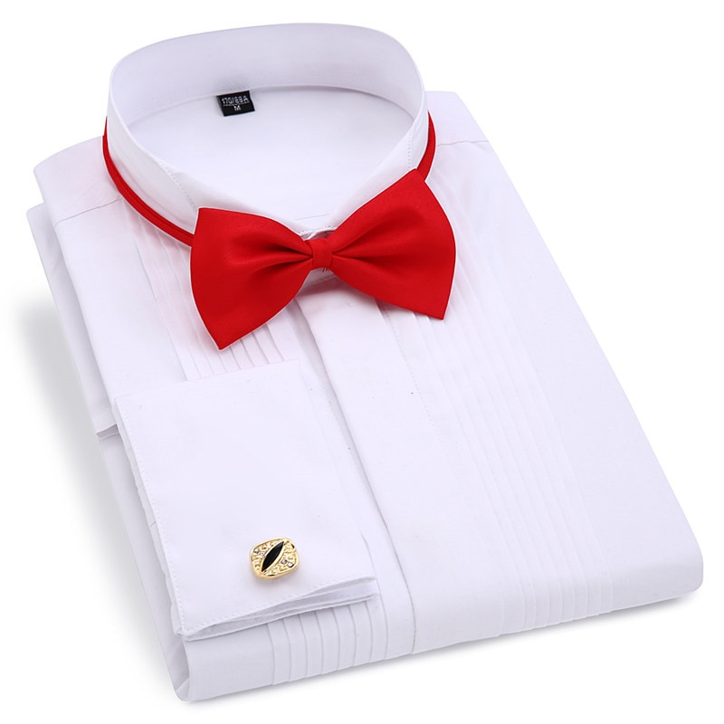 Мужской смокинг, с длинным рукавом, формальная рубашка, запонки, складные, с темными кнопками, белый, красный, черный
