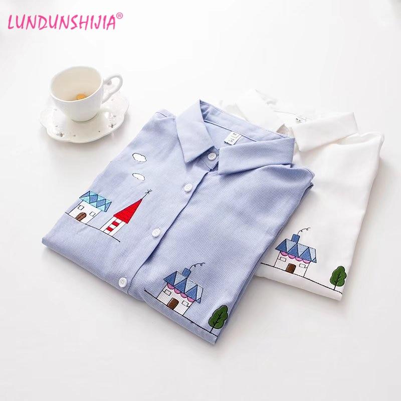 LUNDUNSHIJIA, camisas de algodón para mujer con bordado de casa pequeña, blusa de manga larga a la moda blanca y azul, Blusas de otoño para mujer