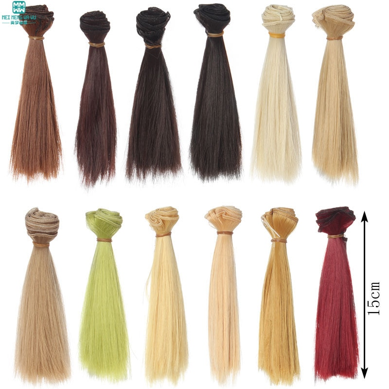 1pcs 15cm * 100cm Thick Straight hair for dolls 1/3 1/4 BJD SD doll wigs black gold brown