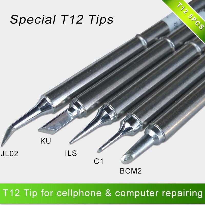 T12 سبيكة لحام نصائح مجموعة خاصة T12-BCM2 ILS KU C1 JL02 للهاتف المحمول الهاتف المحمول وإصلاح الكمبيوتر