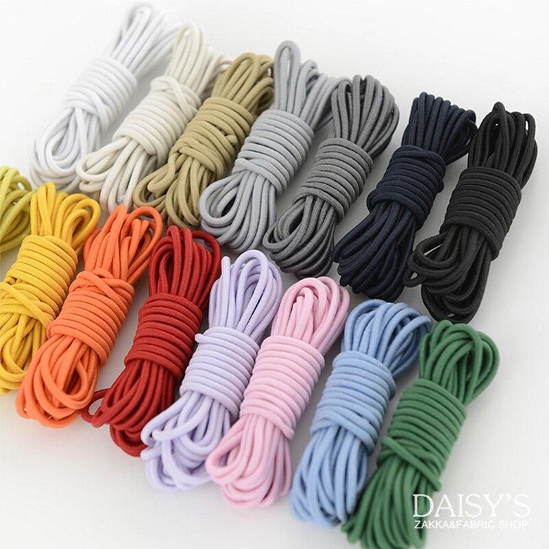 Envío Gratis, 5x3m x 2mm, DIY, ropa hecha a mano, accesorios de ropa, cuerda de goma elástica importada, banda de color, suministros de costura
