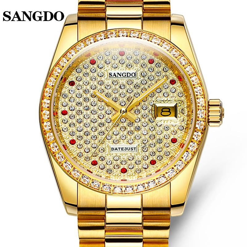 Reloj de lujo SANGDO de acero inoxidable para hombre reloj de calendario impermeable de cristal de zafiro mecánico automático