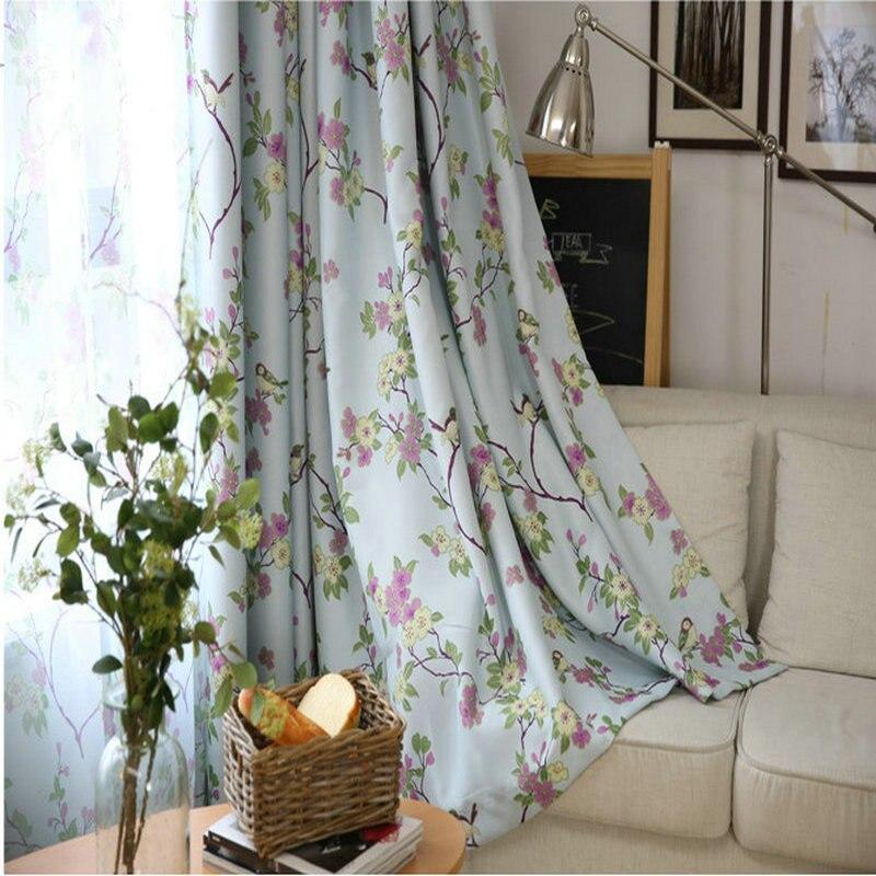 Cortinas opacas estampadas con flores patrón de pájaros cortinas de ventana para sala de estar Pastoral estilo fresco cortina pura 2 colores