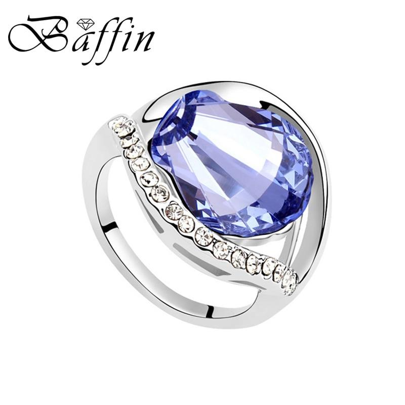 Gran oferta 2017, anillo de dedo hecho con Elementos Swarovski, óvalo de cristal, anillos para mujer, accesorios de compromiso de boda