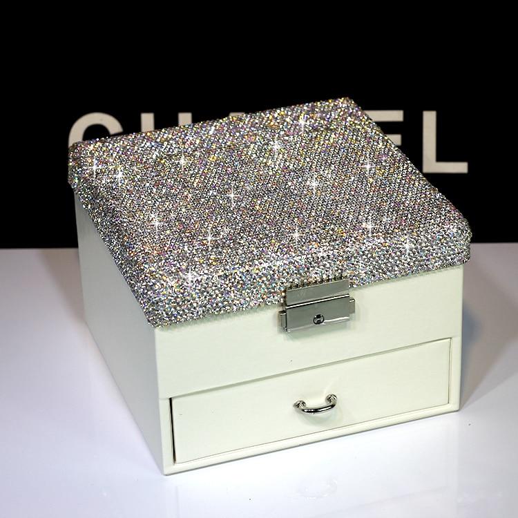 Caja de joyería de cristal de cuero con cajón y espejo caja de joyas de dos capas anillos collar pulsera caja dormitorio decoración regalos de boda