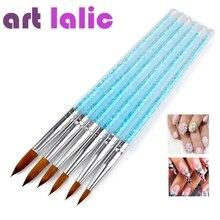Artlalic 6pcs/lot Nail Art Brush Pens UV Gel Varnish Painting Drawing Blue Crystal Handle Brushes for Nails Manicure Tools Set