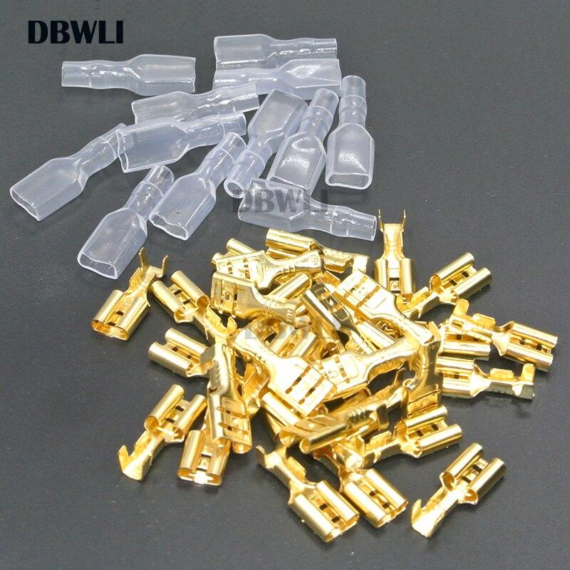 200 uds/100 pares de 2,8mm 4,8mm 6,3mm hembra de crimpado terminales eléctricos de envoltura de cable conector para 22-16 AWG 0.5mm2-1.5mm2