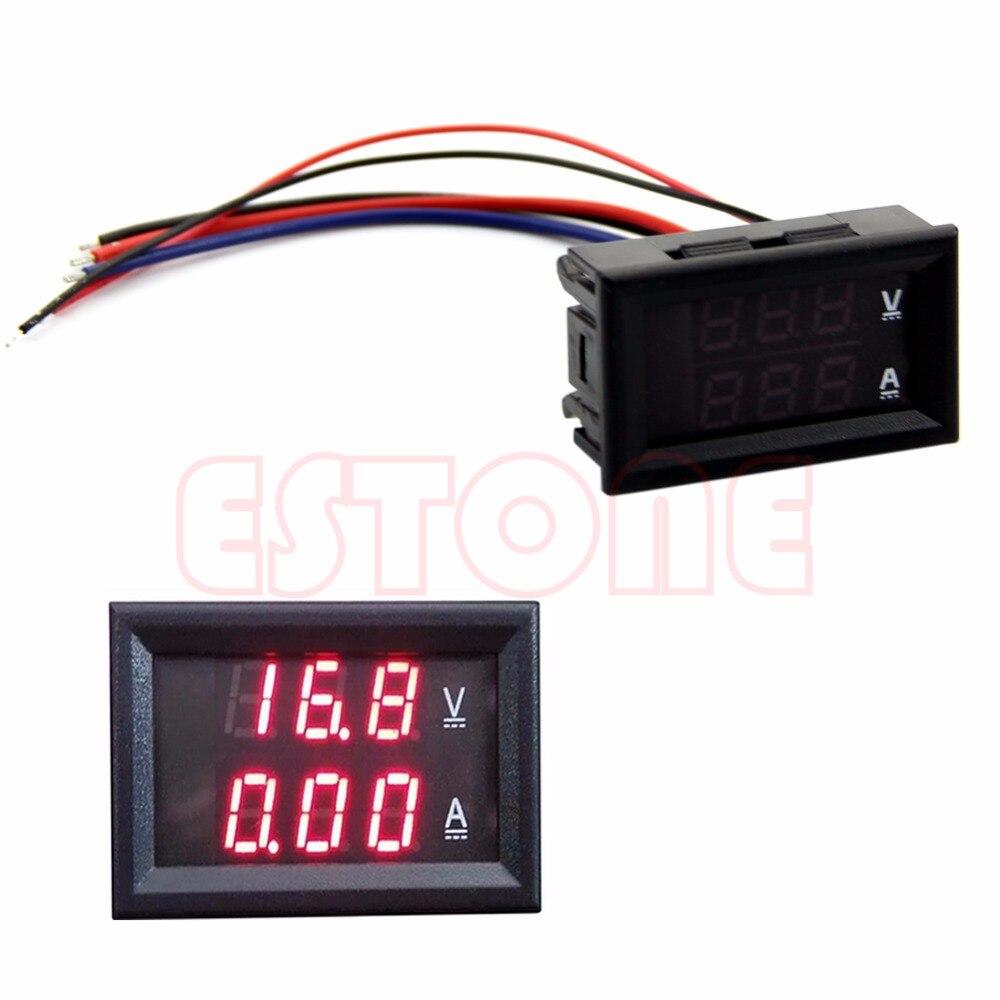 10A DC 100 v Voltímetro Amperímetro LED Vermelho Painel Amp Volt Medidor Medidor Digital Duplo