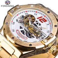 Forsining Men Watch Automatic Mechanical Golden Bridge Hollow Stainless Steel Band Wrist Watches For Man Luxury Sport Male Clock