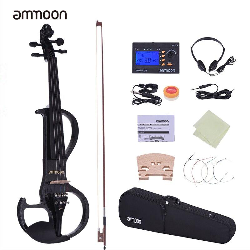 Ammoon tamaño completo 4/4 violín de madera sólida estilo silencioso-3 ébano diapasón clavijas Chin Rest Tailpiece