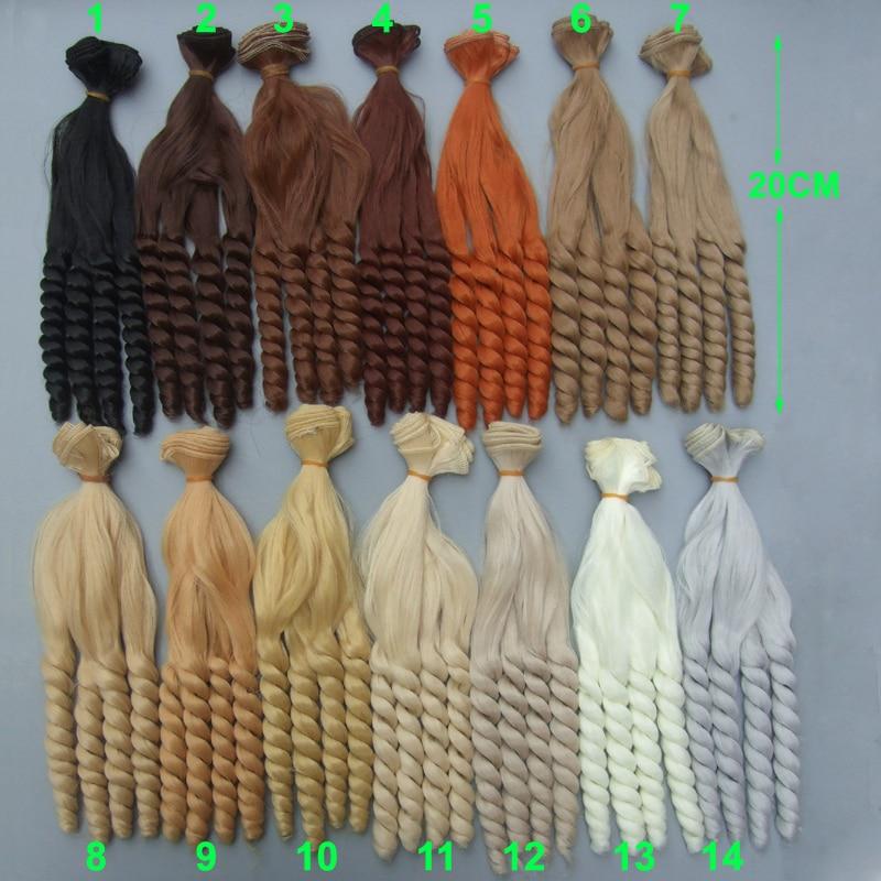 Free shipping 20 cm high temperature  doll hair for 1/3 1/4 1/6 BJD diy curly doll hair for handmade doll