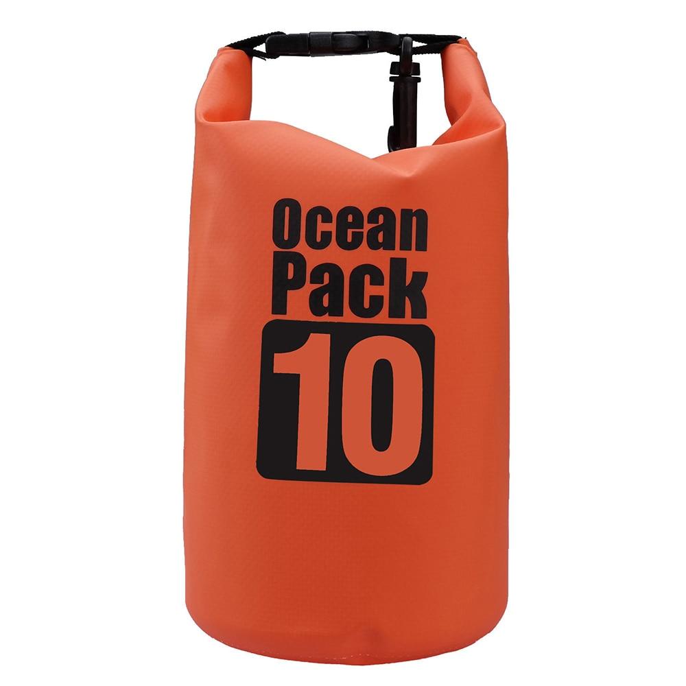 10L impermeable almacenamiento seco bolsa de transporte mochila saco bolsa barco Kayak naranja