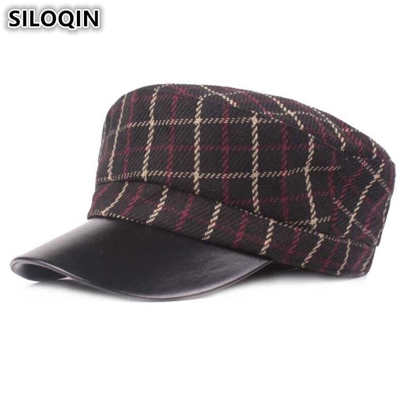 SILOQIN elegante Retro de moda militar del ejército sombreros para hombres y mujeres otoño mujeres gorra plana Snapback hombres marcas gorras Chapeau Femme