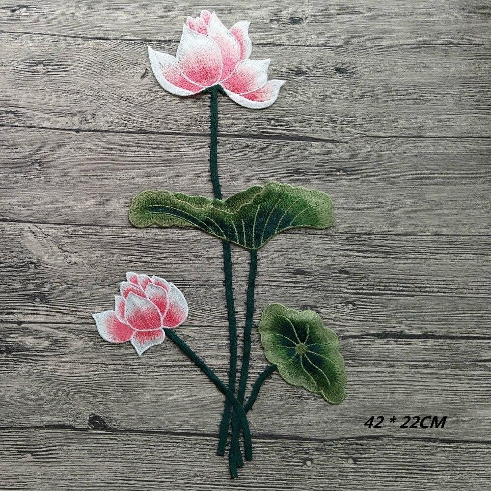 1 unidad, nuevo, gran aplique en flor de loto, bordado, coser en parches, pegatina artesanal de flores, reparación Diy, decoración del hogar de alta calidad