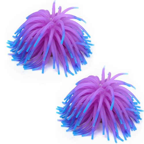 Tanque de pez de silicona COFA 2 x, decoración de ornamento de Coral para acuario, púrpura