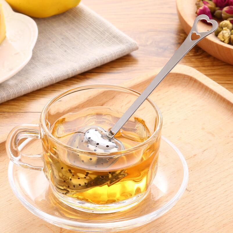 شكل قلب الفولاذ المقاوم للصدأ الشاي المساعد على التحلل مصفاة الشاي مرشح ملعقة إبريق اكسسوارات الأسر أداة LX7117