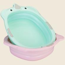 2019 Fashion Collapsible Children Small Bath Tub Washbasin Baby Plastic Baby Bath Tubs Folding Household Bath Tub Eco-Friendly