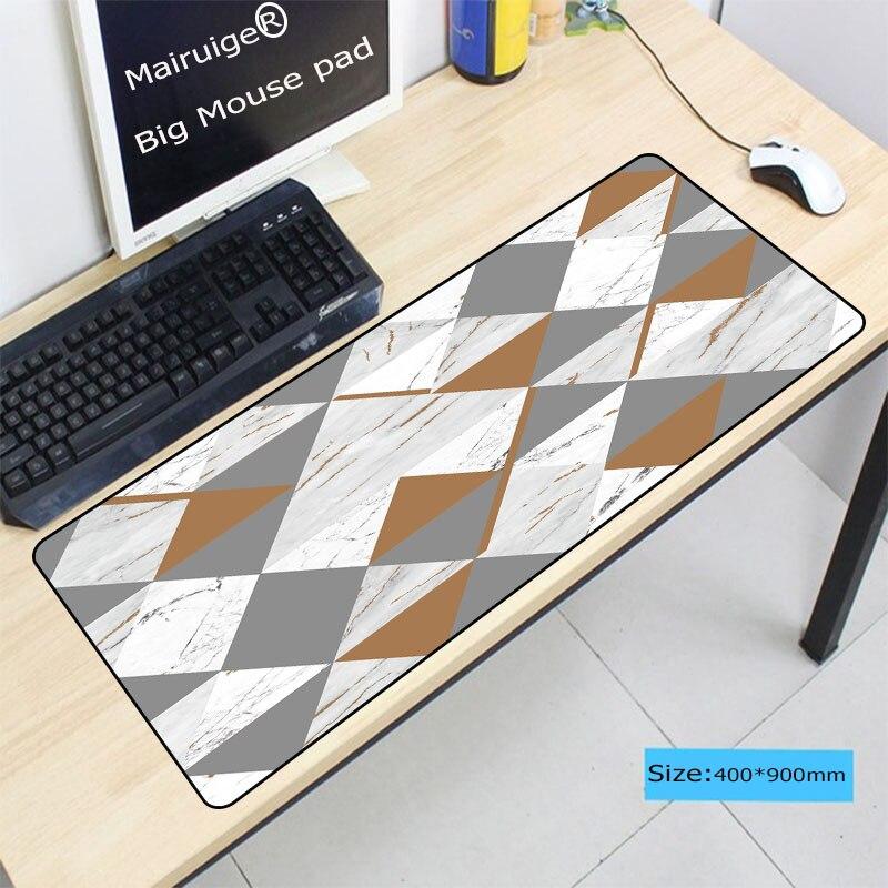Mairuige velocidade versão grande gaming mouse pad tapete para computador portátil teclado de mesa mármore criativo cor cinza 900*400*3mm