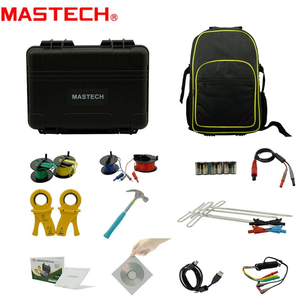 MasTech MS2308 2/3/4 Pole doble abrazaderas probador de resistencia de tierra medidor de resistividad del suelo RK Wire Compensation Tester USB