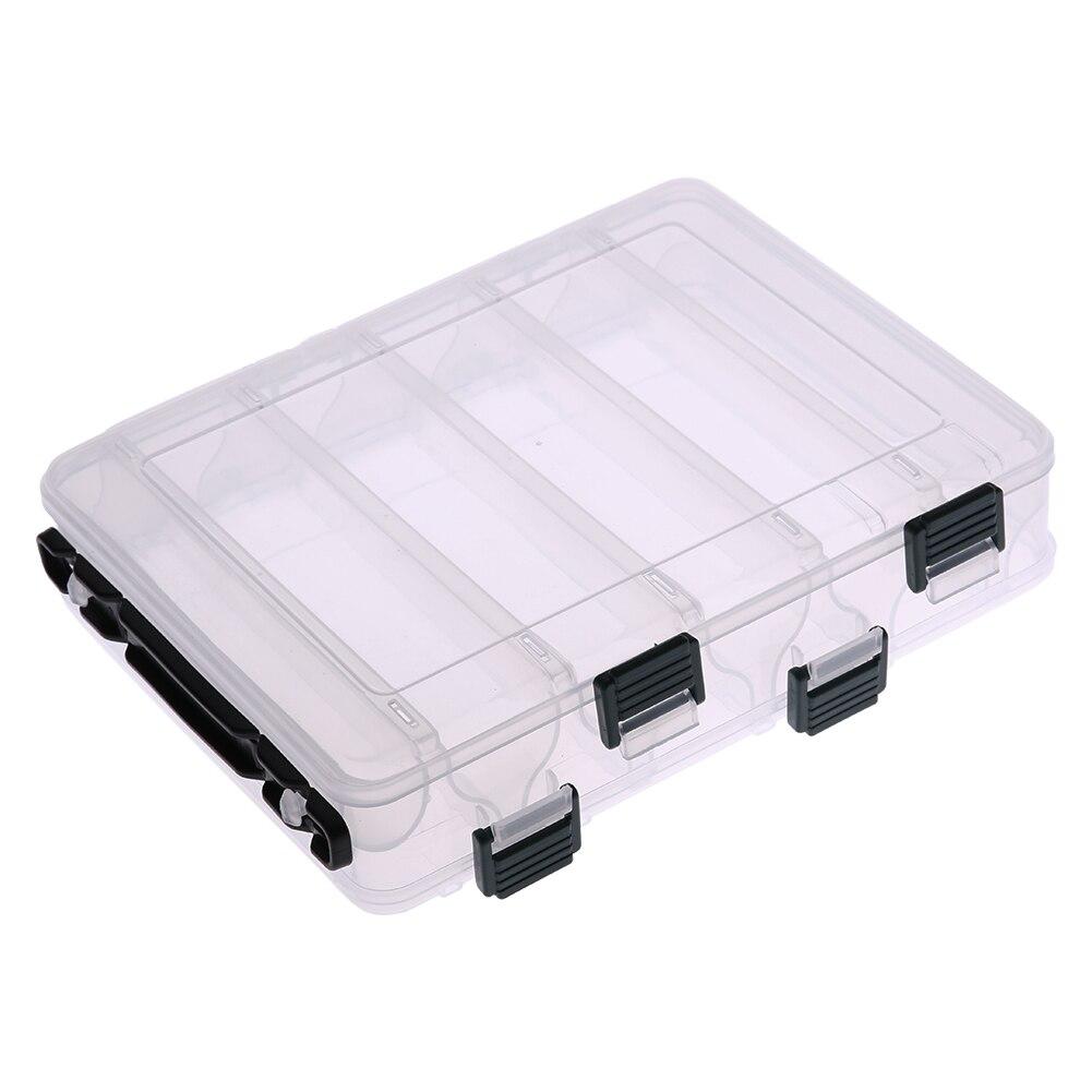 Caja transparente de 9-12 compartimentos de doble cara para señuelo de gamba, caja de almacenamiento, contenedor, accesorios de pesca de carpa