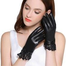 Echt Lederen Handschoenen Vrouwen Winter Plus Fluwelen Dikker Mode Zwart Pols Kant Rijden Touchscreen Schapenvacht Handschoenen F8008
