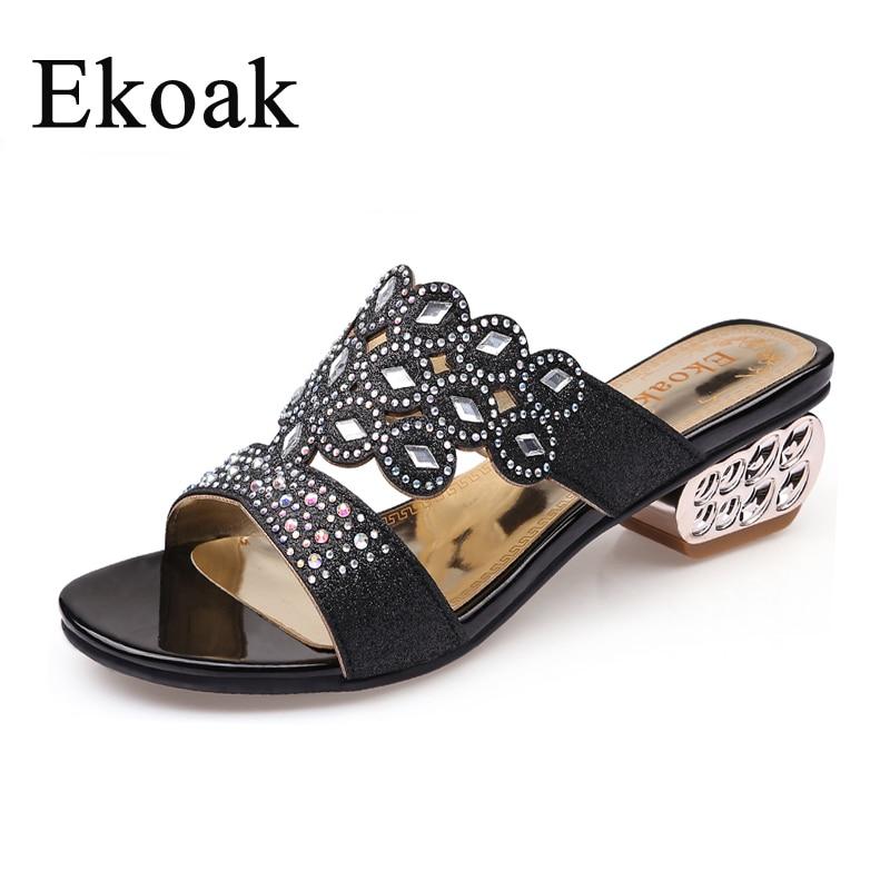 Ekoak nuevos zapatos de verano de moda para mujer Sandalias de tacón medio para mujer