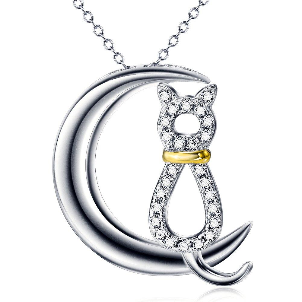 EBay aliexpress ювелирные изделия S925 Луна кошка кулон ожерелье серебро кулон производители в Европе и Америке