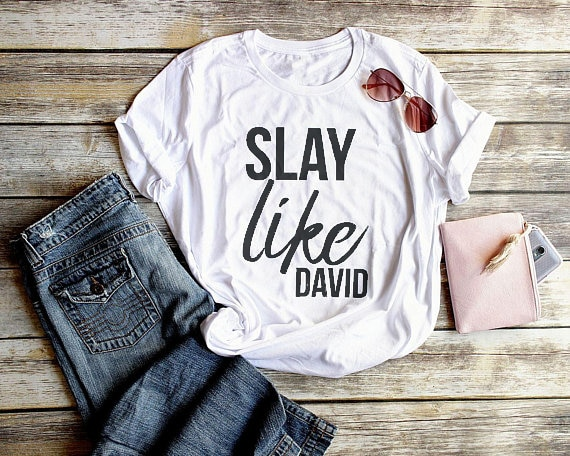 Женская футболка с надписью «Slay Like David Christian»