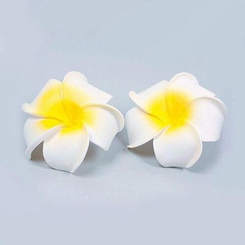2 uds Flor de espuma hawaiana Boda nupcial clip de cabello para fiesta decoración blanca Plumeria