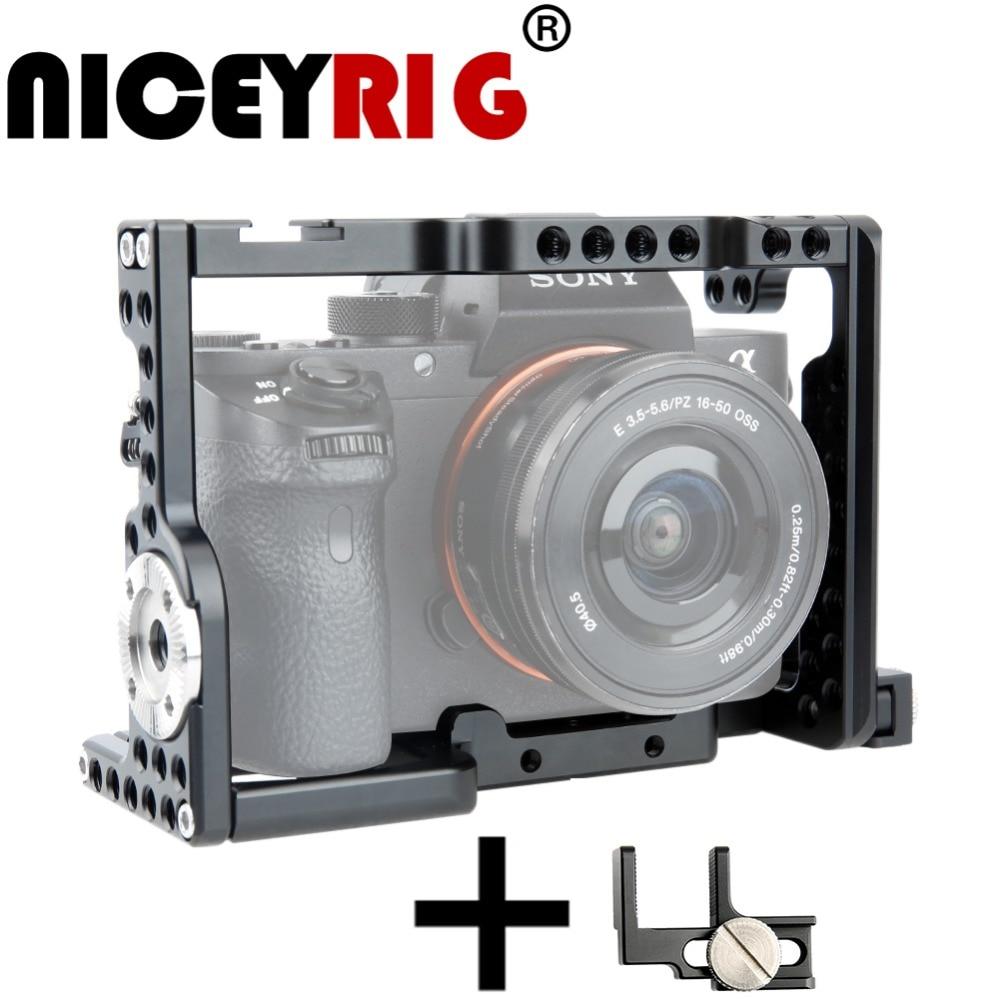 Niceyrig para sony a7 a7s a7r fotografia dslr câmera gaiola alça arri roseta montagem hdmi cabo braçadeira câmera acessórios