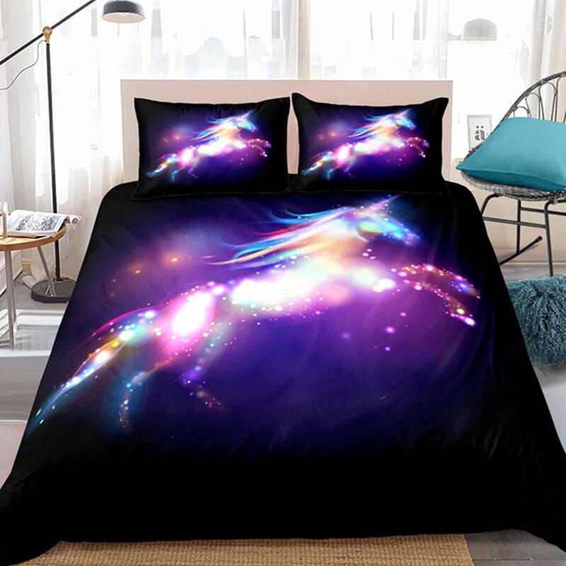 Fanaijia-طقم أغطية سرير Galaxy Unicorn للفتيات ، وغطاء لحاف ، ولامعة ، يونيكورن ، بنفسجي ، مقاس واحد ، 3 قطع