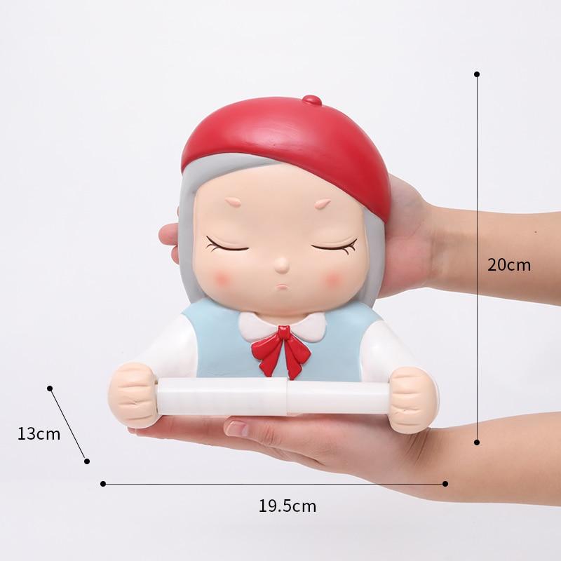 Roogo Ceramic Paper Holder Toilet Cartoon Dream Girl Bathroom Decorative Paper Dispenser Creative Towel Toilet Paper Home Decor enlarge