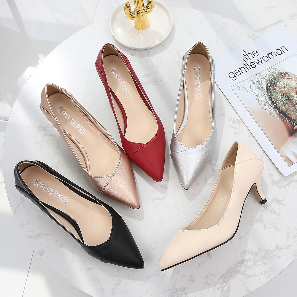 Plus Size 36-46 Women Shoes Pointed Toe Pumps Patent Pu Casual Shoes Kitten Heels Boat Shoes Wedding