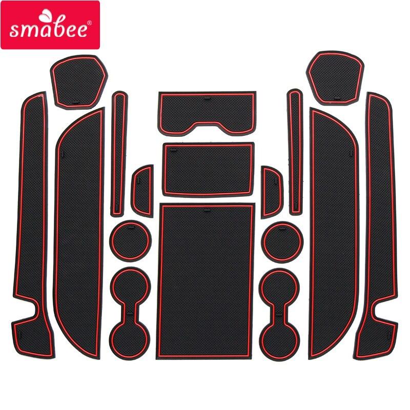 Tapetes de Smabee para ranura de puerta para NISSAN 2011-2016 ELGRAND E52 antideslizantes en rojo/Blanco/Negro 17 Uds Pad/Cup Dust mats watercoaster antideslizante