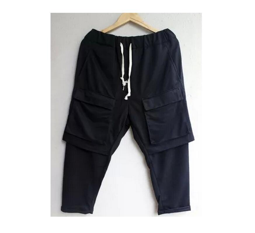 بنطلون سارويل أسود للرجال ، طبقة مزدوجة ، جيوب كبيرة ، أزياء مغنية ، كاجوال ، مقاس كبير ، موضة جديدة ، 27-44 ، 2021