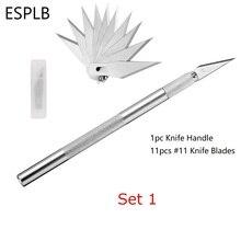 ESPLB المعادن المشرط شفرات سكين #11 عدم الانزلاق القاطع النقش السكاكين الحرفية شفرات للهاتف المحمول والحاسوب المحمول PCB إصلاح الأدوات اليدوية