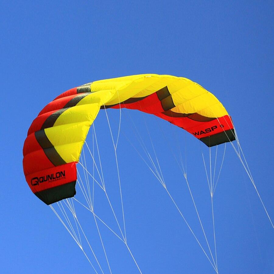 Avispa 5Sqm Quad línea cometa rojo Color al aire libre Kiteboarding kitesurf entrenador cometa vuelo fácil potencia de tracción cometa