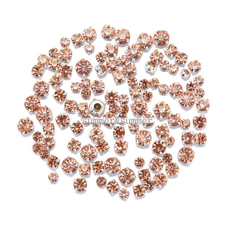 NOVO! MISTURAR o Tamanho/algum Tamanho Champanhe 4mm-8mm Vidro Costurar-em Strass Prata ou Ouro Fundo vestidos das Mulheres DIY 50 pcs-200 pcs