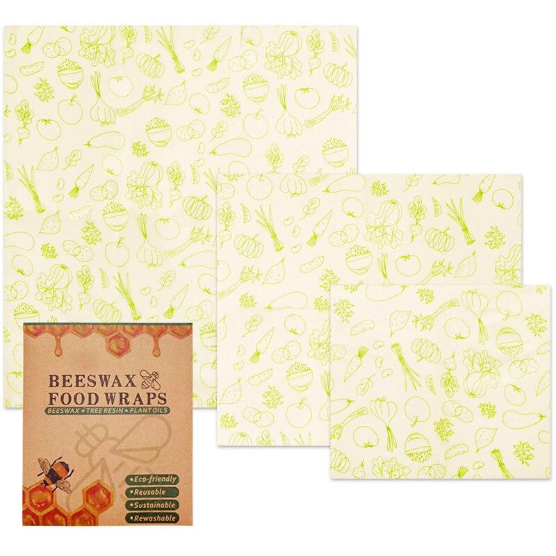 Envolturas reutilizables de comida de piña, cera de abejas, tapas para mantener frescas, fundas para ropa de embalaje de frutas, electrodomésticos 3 piezas