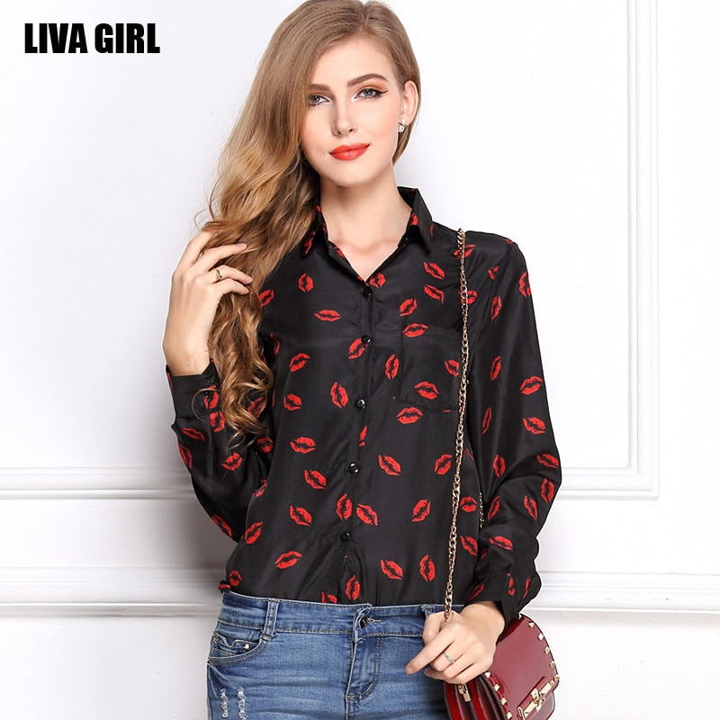 2019 otoño labios estampado cuello vuelto señoras camisas para oficina de mujer blusa de chifón de manga larga Roupas Feminina Ey *