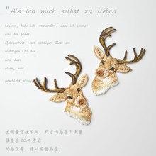Tissu brodé cerf doré de haute qualité   Nouveaux accessoires de vêtement, bricolage, tissu cousu sur une offre spéciale