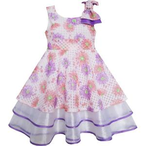 Girls Dress Purple Flower Lace Trim Bow Tie Sleeveless 2020 Summer Princess Wedding Party Dresses Clothes Size 4-8 Carnival