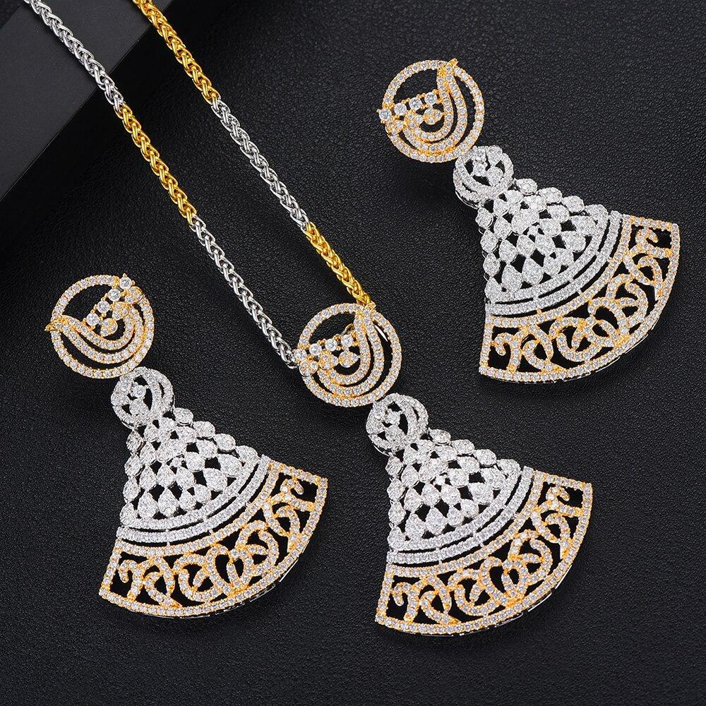 Conjunto de pendientes de Sector de lujo de GODKI conjunto de joyas de circonita cúbica de cristal CZ para mujer boda India conjunto de joyas de novia